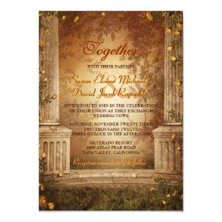 El casarse romántico de las hojas y de las invitación 11,4 x 15,8 cm