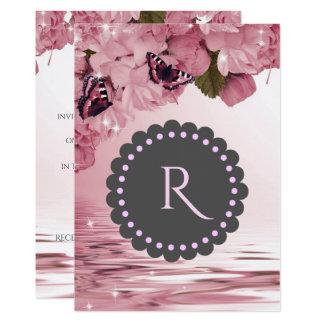 El casarse rosado de las flores de cerezo y de las invitación 12,7 x 17,8 cm