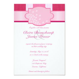 El casarse rosado de las rayas invitación 12,7 x 17,8 cm