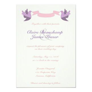 El casarse rosado y púrpura de los pájaros invitación 12,7 x 17,8 cm