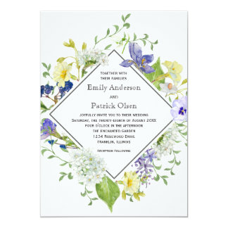 El casarse rústico de los Wildflowers de Boho del Invitación 12,7 X 17,8 Cm