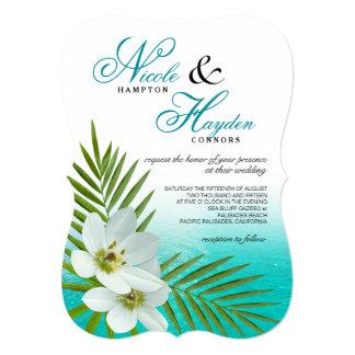 El casarse tropical de las flores de la playa de invitación 12,7 x 17,8 cm