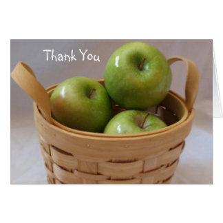 El casarse verde de las manzanas le agradece carda felicitación