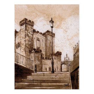 El castillo guarda, Newcastle sobre la postal de