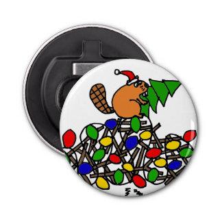 El castor divertido en navidad adornó la presa abrebotellas redondo