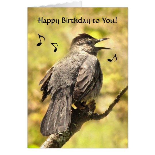 El Catbird canta la tarjeta del feliz cumpleaños