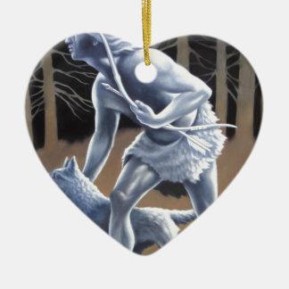 El cazador adorno navideño de cerámica en forma de corazón