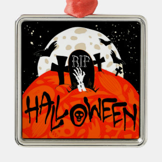 El cementerio fantasmagórico de Halloween golpea Adorno Navideño Cuadrado De Metal