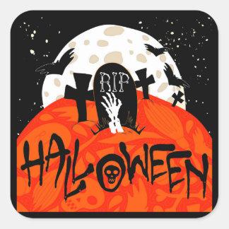 El cementerio fantasmagórico de Halloween golpea Pegatina Cuadrada