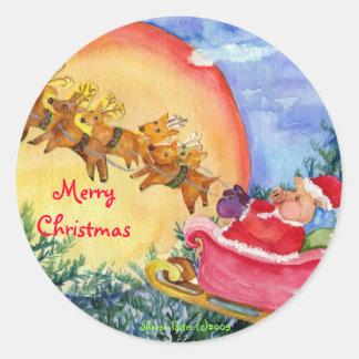 El cerdo de Santa de las Felices Navidad entrega Etiquetas Redondas