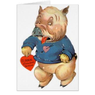 El cerdo lindo chillará las tarjetas de la tarjeta