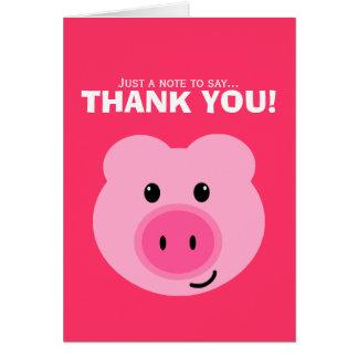 El cerdo rosado lindo le agradece tarjeta de nota