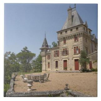 El Chateau magnífico de Pressac y jardín Azulejo Cuadrado Grande