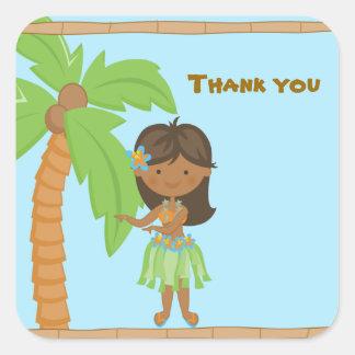 El chica adorable de Luau le agradece pegatina