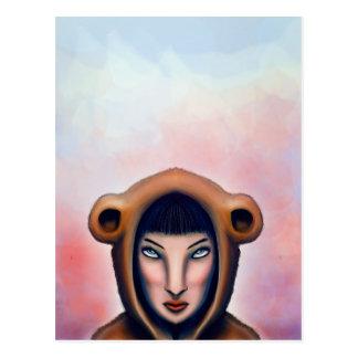 el chica con los pijamas del oso postal