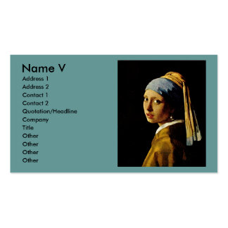 El chica con un turbante/un chica con el pendiente tarjetas de visita