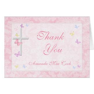 El chica cruzado religioso de la mariposa le tarjeta pequeña