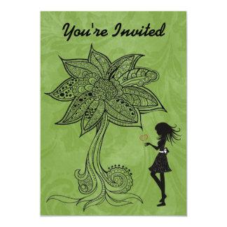 El chica de la silueta con cumpleaños del árbol de invitación 12,7 x 17,8 cm
