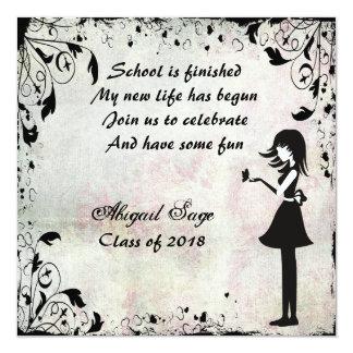El chica de la silueta con la graduación de la invitación 13,3 cm x 13,3cm