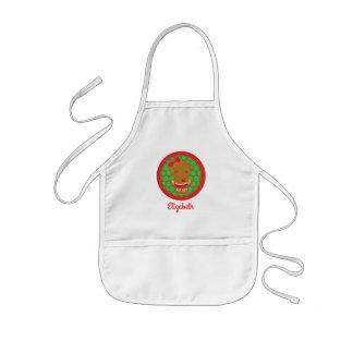 El chica del pan de jengibre personalizado embroma delantal infantil