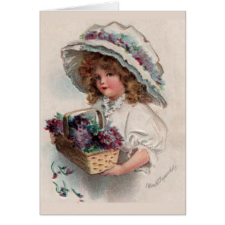 El chica del vintage en capo le agradece cardar tarjeta pequeña
