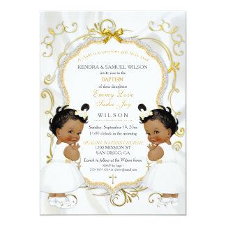 El chica hermana el oro del bautizo del bautismo invitación 12,7 x 17,8 cm