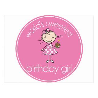 El chica más dulce del cumpleaños de los mundos postal
