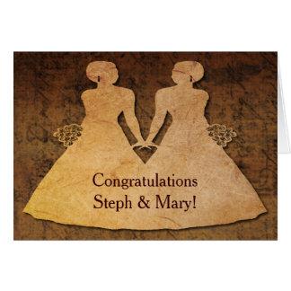 El chica resuelve la invitación de boda lesbiana tarjeta de felicitación
