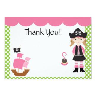 El chica rosado adaptable del pirata le agradece invitación 12,7 x 17,8 cm