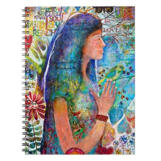 El chica sea cuaderno espiral del arte del arco