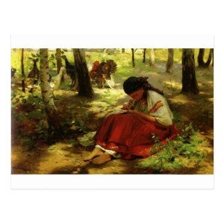 El chica ucraniano borda postal