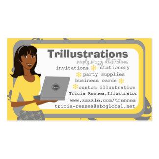 El chica y su ordenador portátil tarjetas de visita
