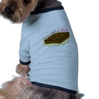 El chocolate es amor camiseta con mangas para perro
