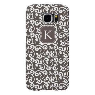 ¡El chocolate floral del monograma femenino, Funda Samsung Galaxy S6
