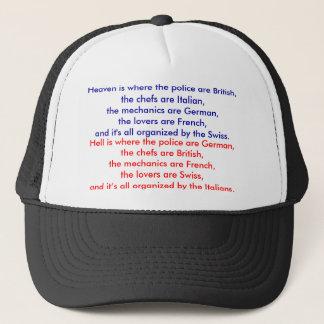 El cielo es donde está británica la policía, el gorra de camionero
