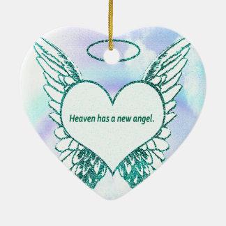 El cielo tiene un nuevo ángel adorno navideño de cerámica en forma de corazón