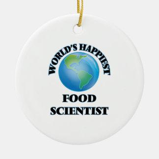 El científico más feliz de la comida del mundo adorno redondo de cerámica