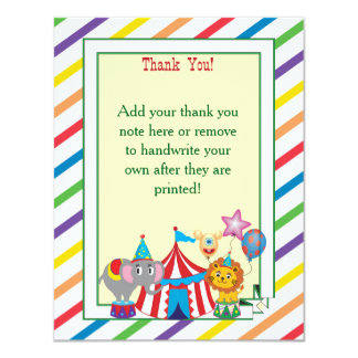 El circo le agradece observar invitación 10,8 x 13,9 cm