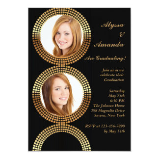El círculo de oro enmarca la invitación de la foto invitación 12,7 x 17,8 cm