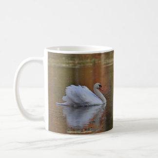 El cisne nada en reflexiones del otoño taza de café