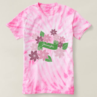 El Clematis rosado del monograma florece la cinta Camiseta