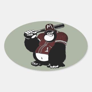 El club de béisbol del gorila pegatina ovalada