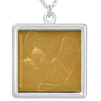 El cobre del oro grabado en relieve agita la hoja  colgante cuadrado