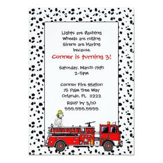 El coche de bomberos con la fiesta de cumpleaños invitación 12,7 x 17,8 cm