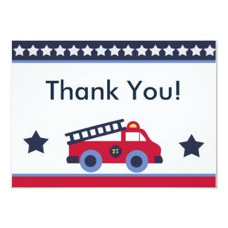 El coche de bomberos/el camión le agradece las invitación 12,7 x 17,8 cm