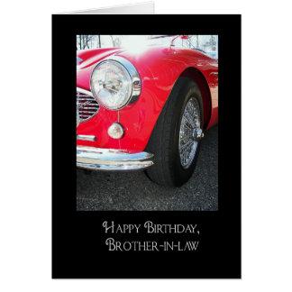 El coche deportivo cumpleaños-rojo del cuñado tarjeta