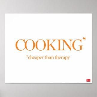 El cocinar más barato que terapia póster