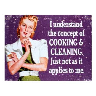 El cocinar y limpieza postal