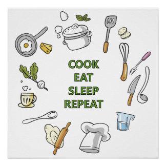 El cocinero come el poster de la repetición del