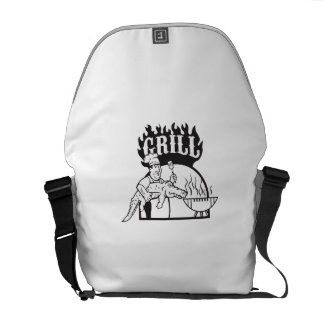 El cocinero lleva el dibujo animado de la parrilla bolsas de mensajería